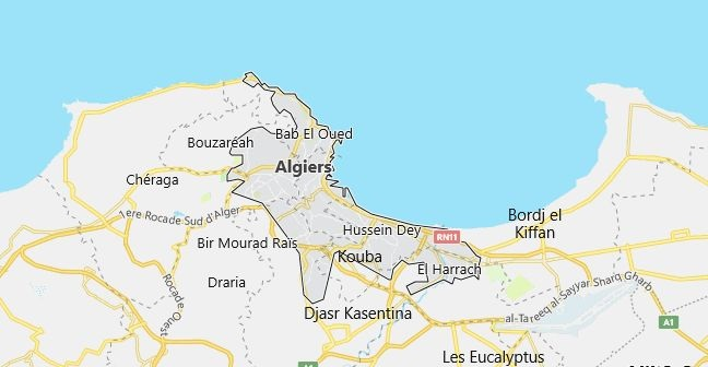Map of Algeria Algiers in English