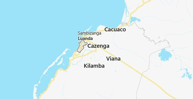 Map of Angola Luanda in English