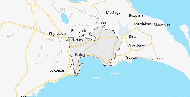Map of Azerbaijan Baku in English
