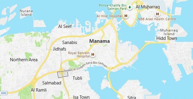 Map of Bahrain Manama in English