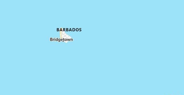 Map of Barbados Bridgetown in English