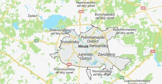 Map of Belarus Minsk in English