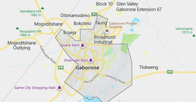 Map of Botswana Gaborone in English