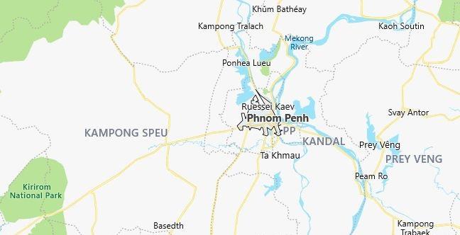 Map of Cambodia Phnom Penh in English