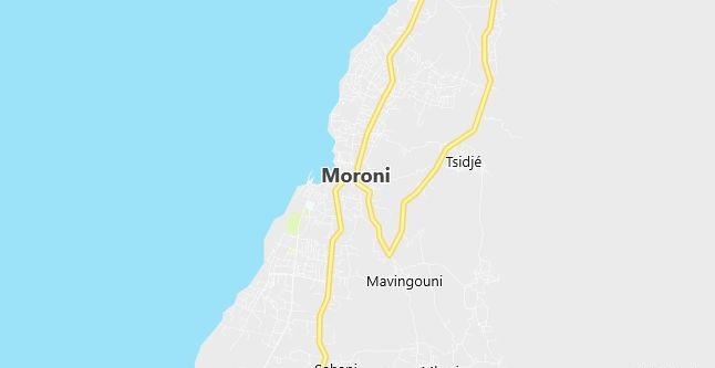 Map of Comoros Moroni in English