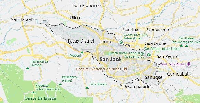 Map of Costa Rica San Jose in English