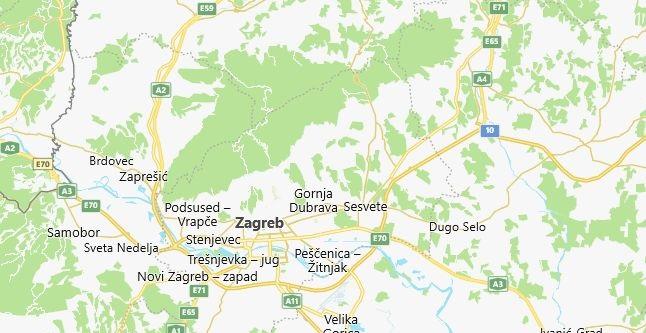 Map of Croatia Zagreb in English