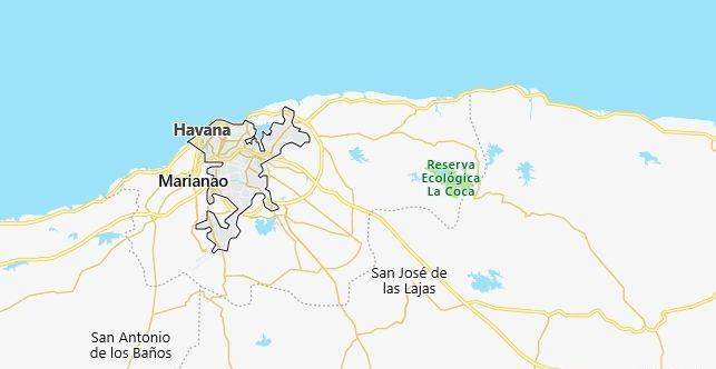 Map of Cuba Havana in English