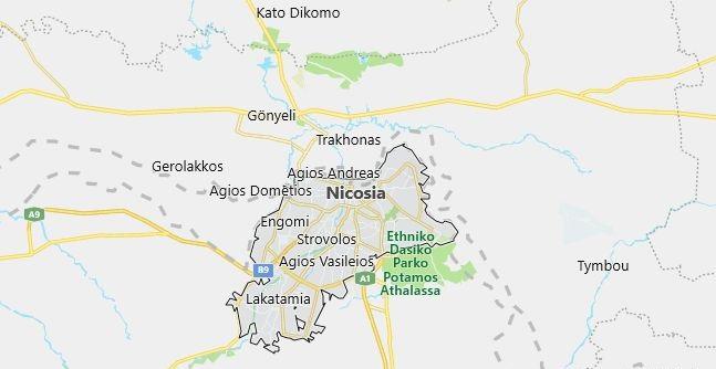 Map of Cyprus Nicosia in English