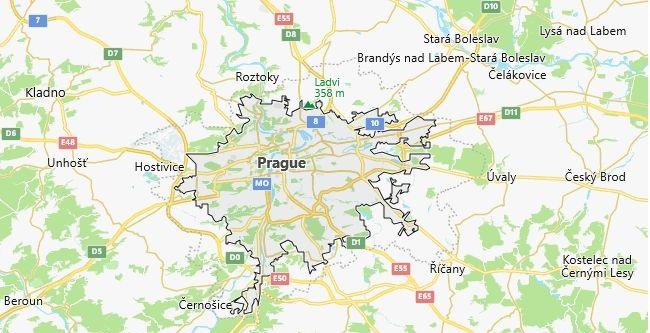 Map of Czech Republic Prague in English