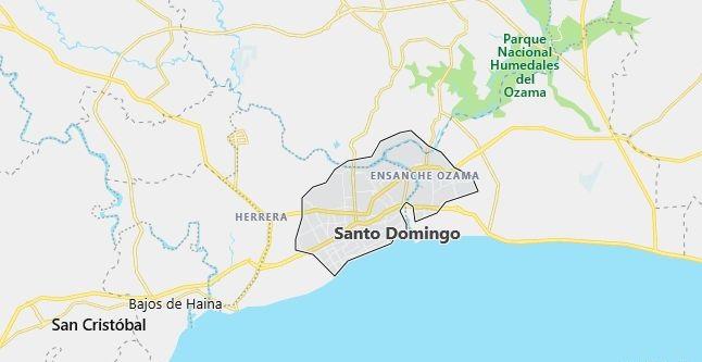 Map of Dominican Republic Santo Domingo in English