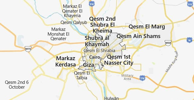 Map of Egypt Cairo in English