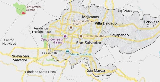 Map of El Salvador San Salvador in English