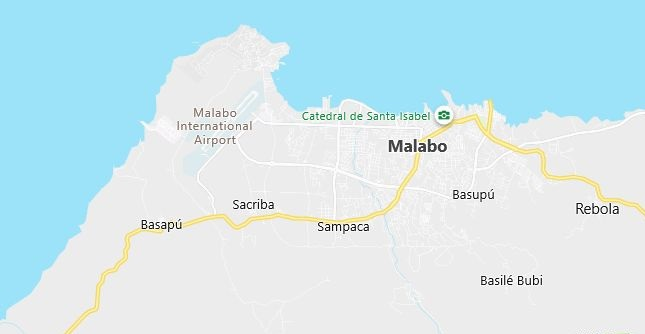 Map of Equatorial Guinea Malabo in English