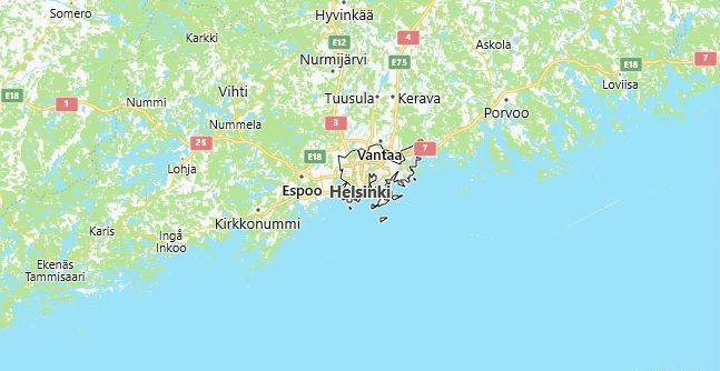 Map of Finland Helsinki in English