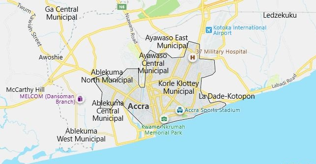 Map of Ghana Accra in English