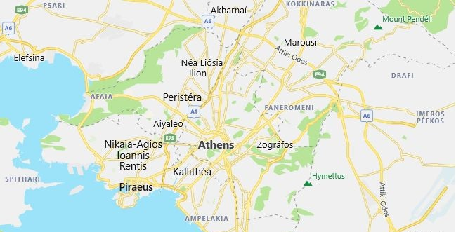 Map of Greece Athens in English