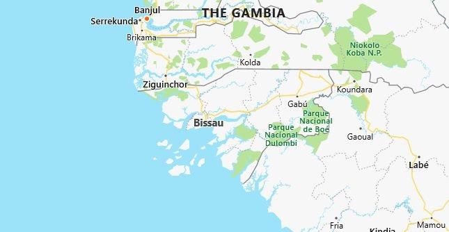 Map of Guinea-Bissau Bissau in English