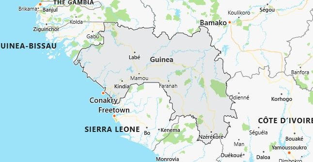 Map of Guinea Conakry in English