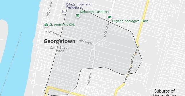 Map of Guyana Georgetown in English