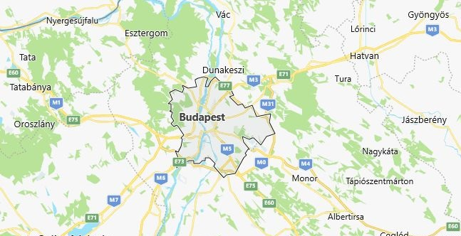 Map of Hungary Budapest in English