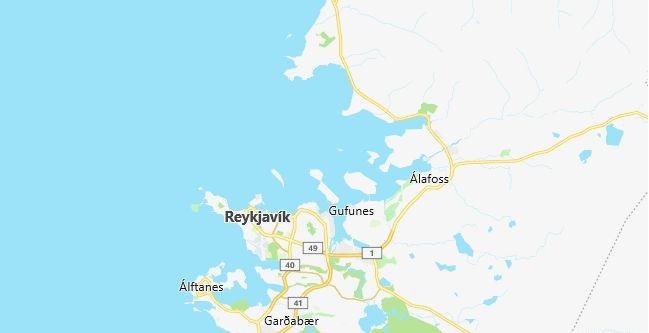 Map of Iceland Reykjavik in English