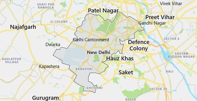 Map of India New Delhi in English