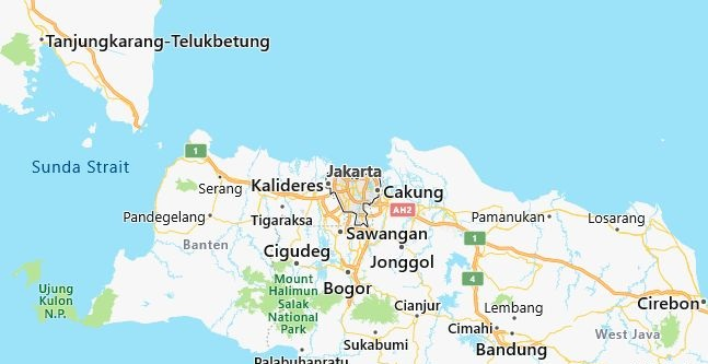 Map of Indonesia Jakarta in English