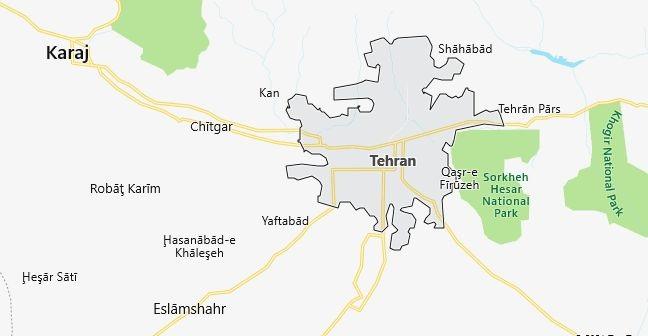 Map of Iran Tehran in English