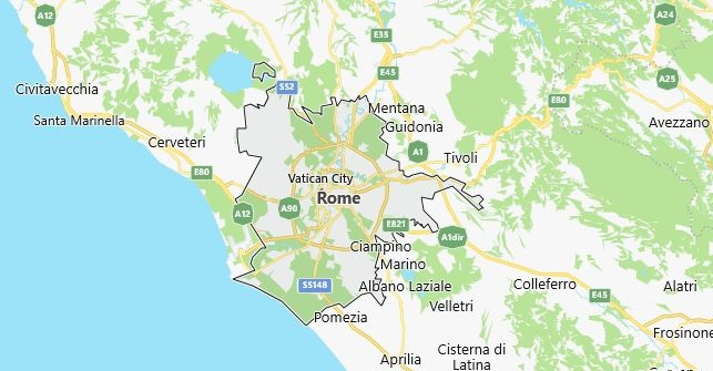 Map of Italy Rome in English