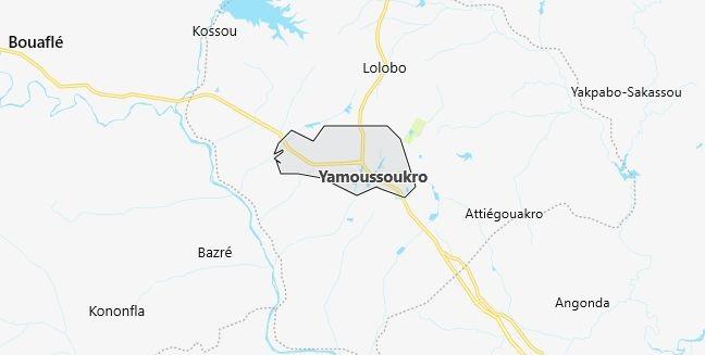 Map of Ivory Coast Yamoussoukro in English