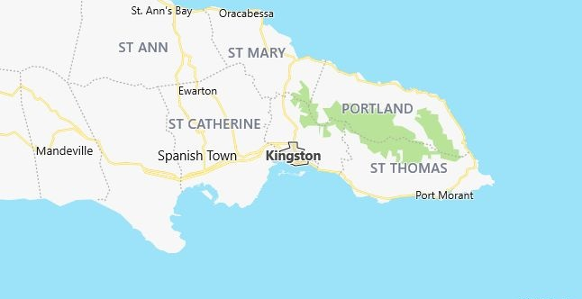 Map of Jamaica Kingston in English