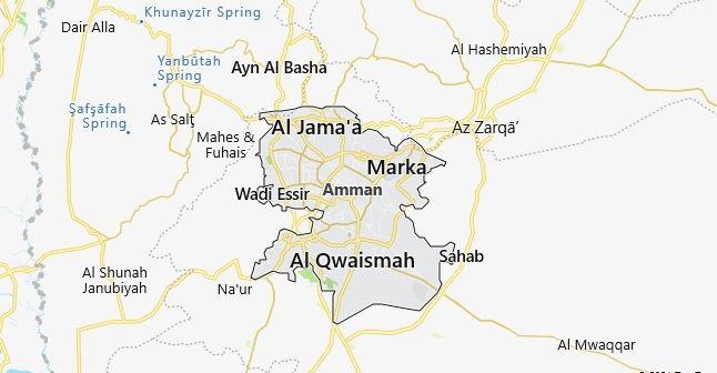 Map of Jordan Amman in English