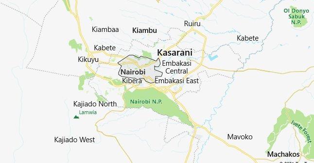 Map of Kenya Nairobi in English