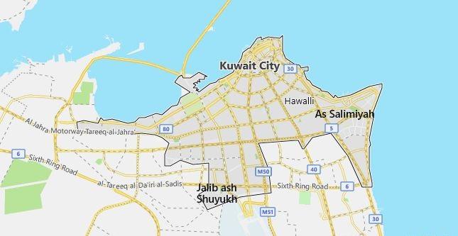 Map of Kuwait Kuwait City in English