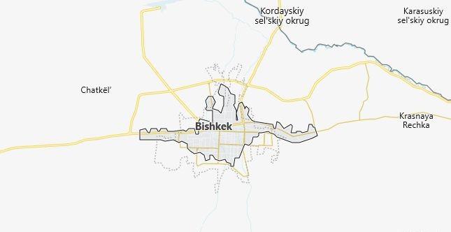 Map of Kyrgyzstan Bishkek in English