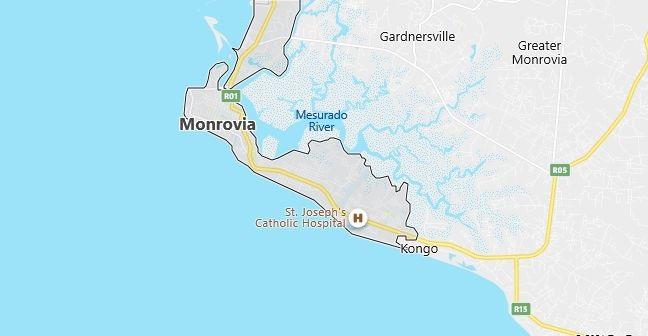 Map of Liberia Monrovia in English