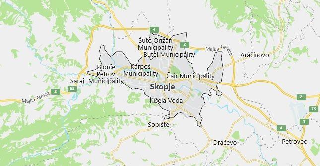 Map of Macedonia Skopje in English