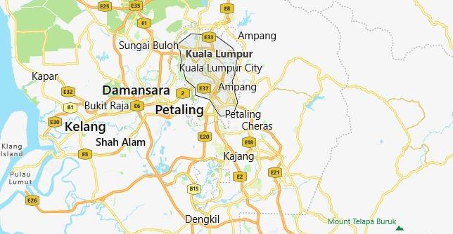 Map of Malaysia Kuala Lumpur in English