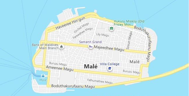 Map of Maldives Male in English