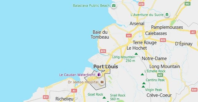 Map of Mauritius Port Louis in English