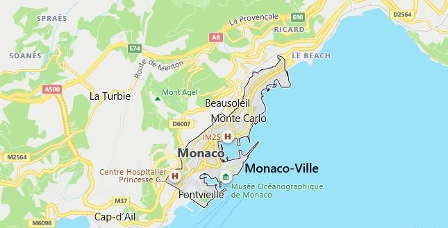 Map of Monaco Monaco in English