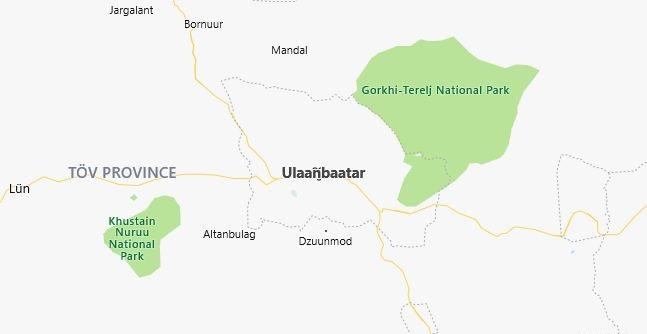 Map of Mongolia Ulaanbaatar in English