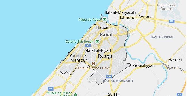 Map of Morocco Rabat in English