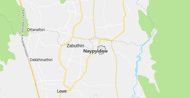 Map of Myanmar Nay Pyi Taw in English