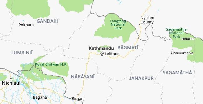 Map of Nepal Kathmandu in English