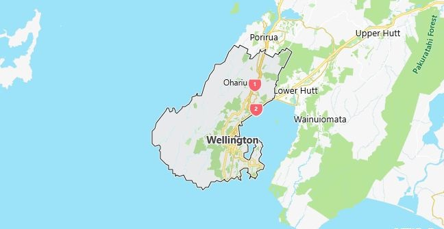 Map of New Zealand Wellington in English