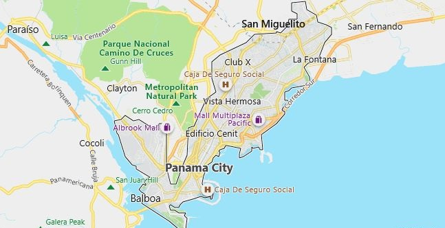 Map of Panama City in English
