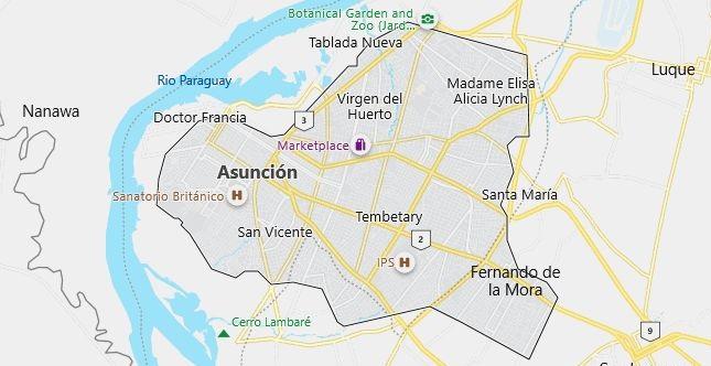 Map of Paraguay Asuncion in English