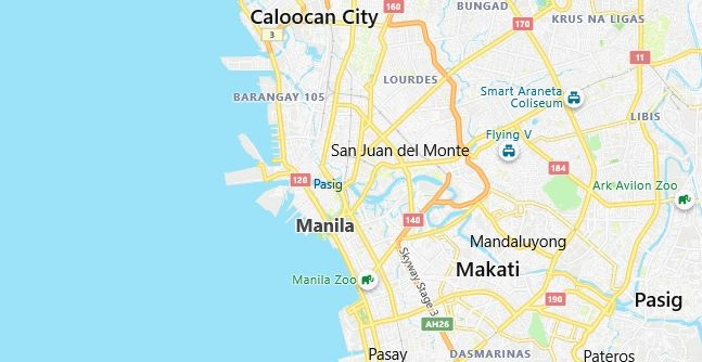 Map of Philippines Manila in English